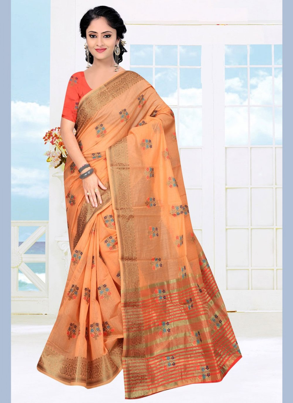 Orange Color Casual Saree