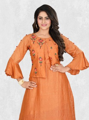 Orange Color Designer Palazzo Salwar Suit