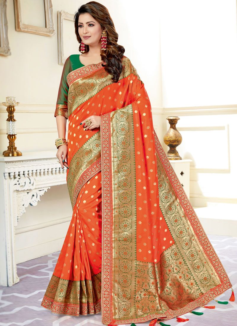 Orange Color Silk Saree
