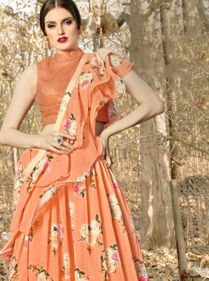 Orange Color Trendy Designer Lehenga Choli