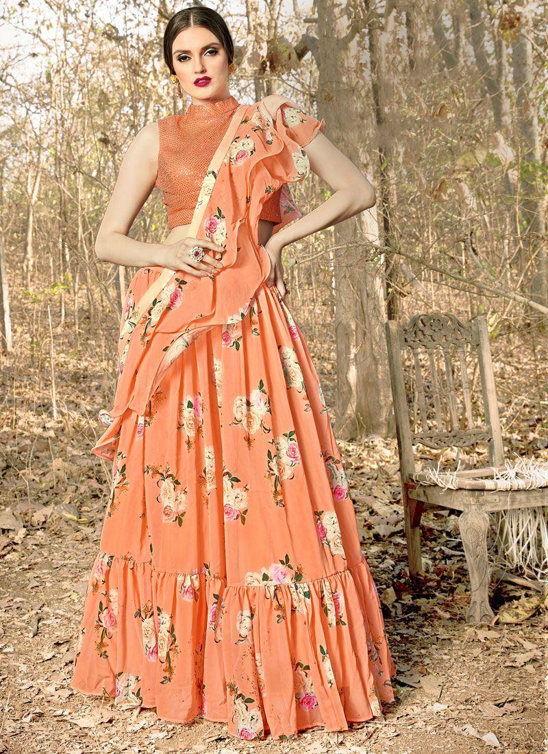 Orange Color Trendy Designer Lehenga Choli