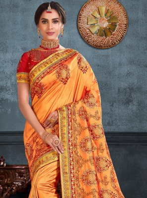 Orange Color Trendy Saree