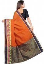 Orange Cotton Classic Designer Saree