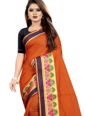 Orange Cotton Classic Designer Saree