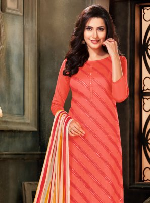 Orange Cotton Embroidered Designer Salwar Suit