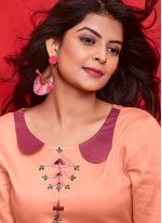 Orange Cotton Embroidered Party Wear Kurti