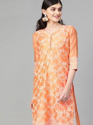 Orange Cotton Festival Designer Kurti