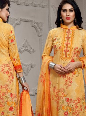Orange Cotton Pant Style Suit