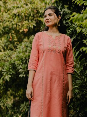 Orange Cotton Party Wear Kurti