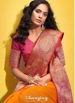 Orange Cotton Woven Traditional Saree