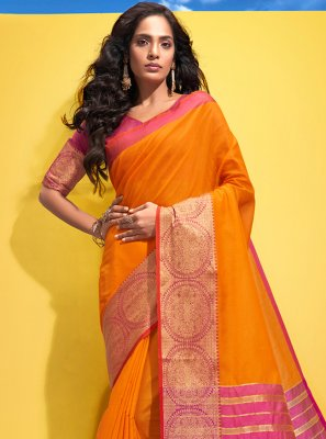 Orange Cotton Woven Traditional Saree