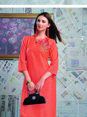 Orange Designer Festival Party Wear Kurti