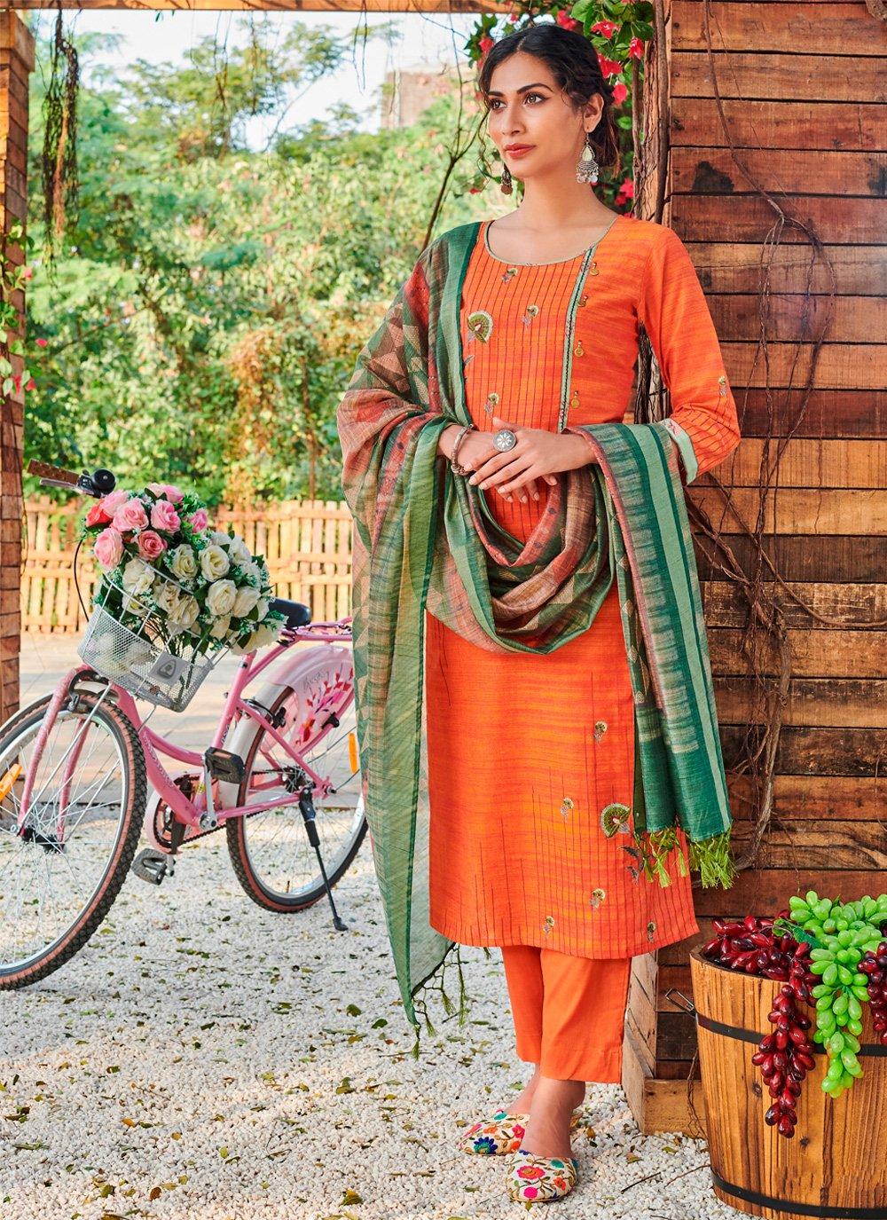 Orange Designer Pakistani Salwar Suit