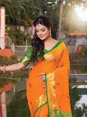Orange Designer Traditional Saree