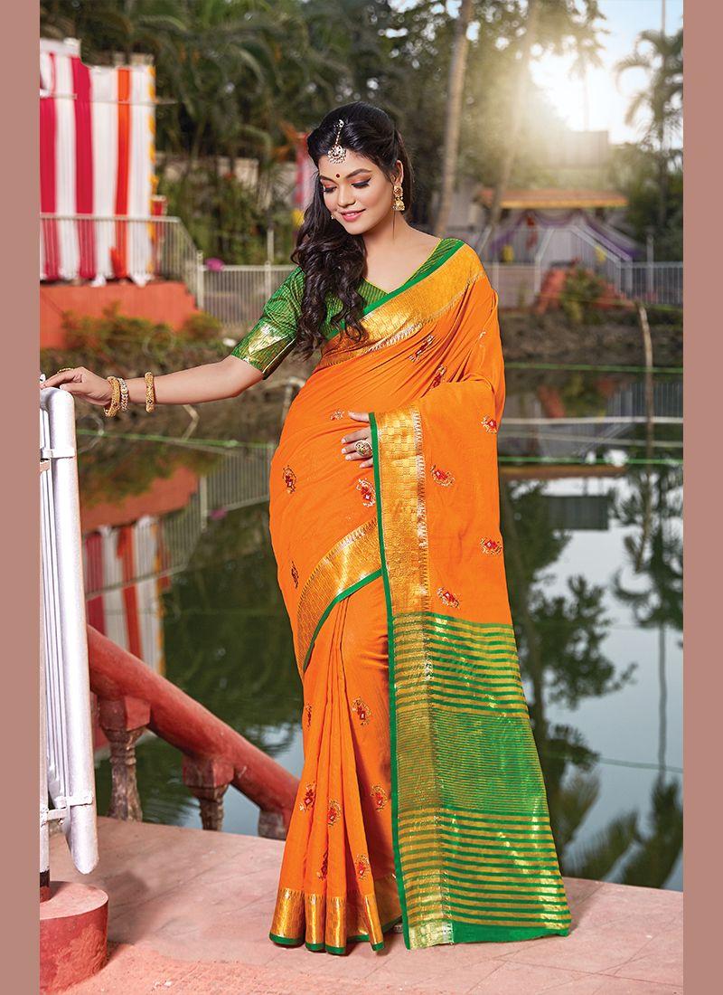 Orange Designer Traditional Saree