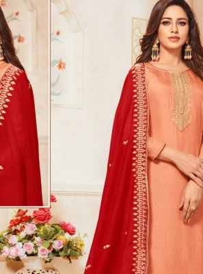 Orange Embroidered Art Silk Designer Salwar Suit