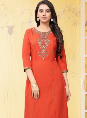 Orange Embroidered Casual Kurti