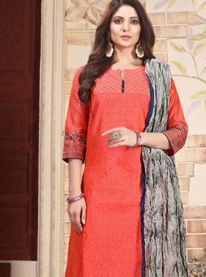 Orange Embroidered Chanderi Salwar Suit