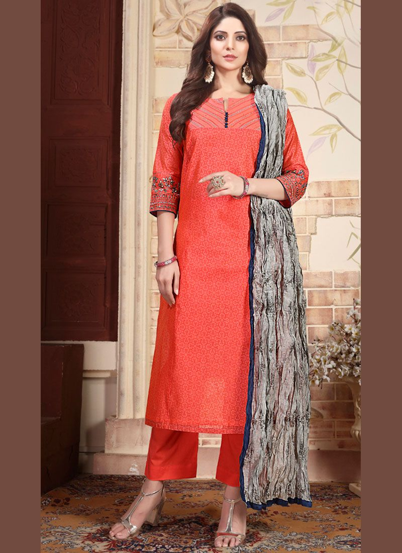 Orange Embroidered Chanderi Salwar Suit