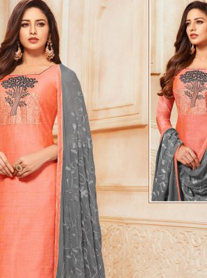 Orange Embroidered Churidar Salwar Kameez