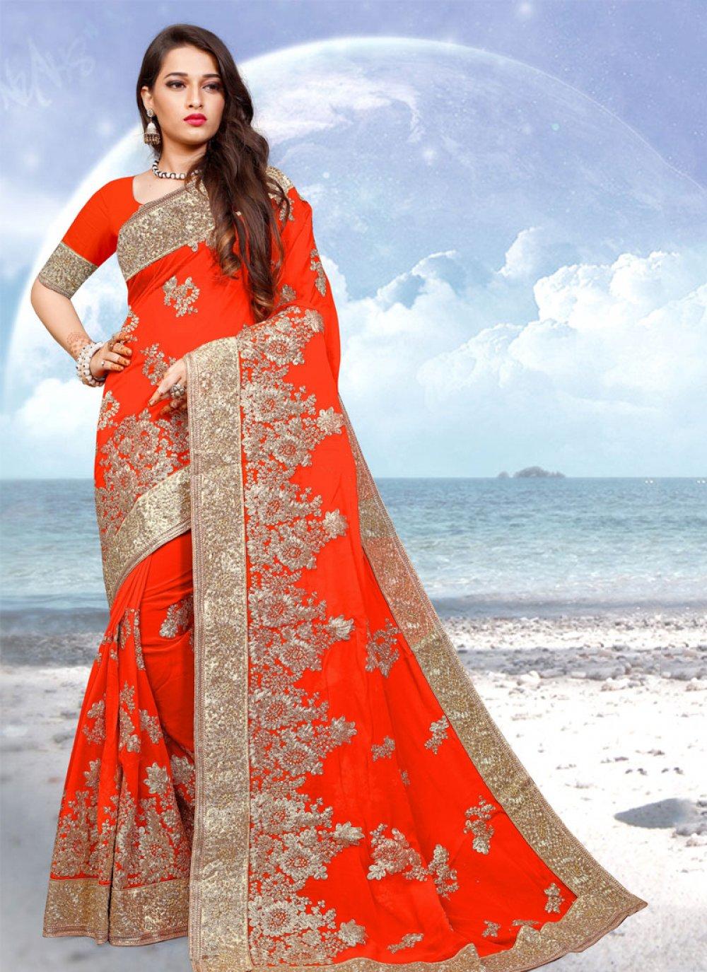 Orange Embroidered Classic Designer Saree