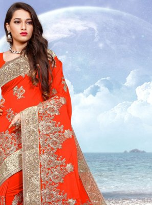 Orange Embroidered Classic Designer Saree