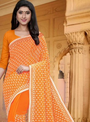 Orange Embroidered Classic Saree