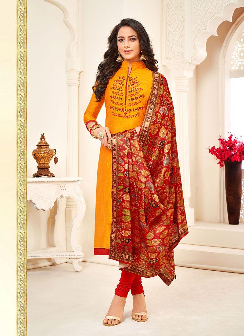 Orange Embroidered Cotton Churidar Suit