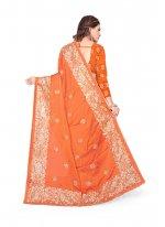 Orange Embroidered Designer Saree