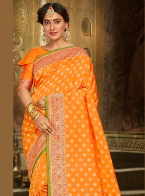 Orange Embroidered Designer Saree