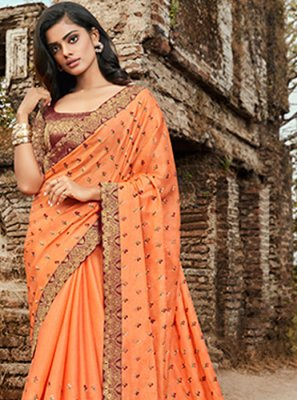 Orange Embroidered Festival Trendy Saree