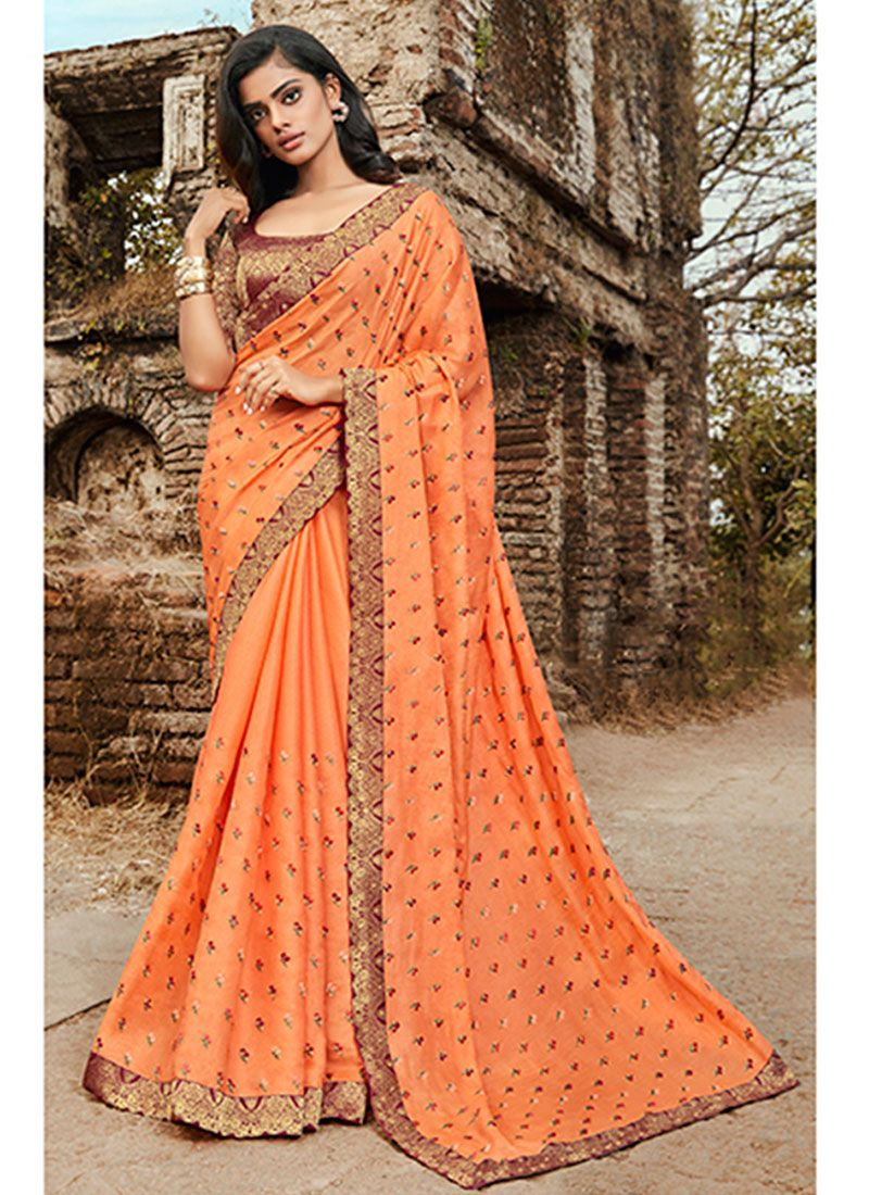 Orange Embroidered Festival Trendy Saree