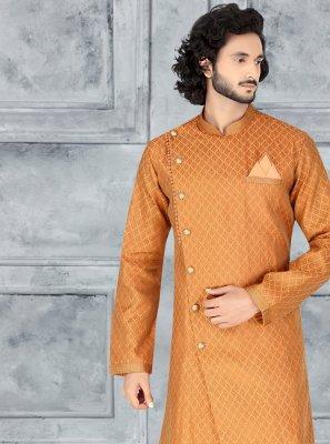 Orange Embroidered Indo Western
