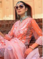 Orange Embroidered Net Designer Salwar Kameez