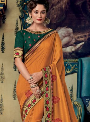 Orange Embroidered Party Designer Saree