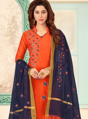 Orange Embroidered Party Salwar Kameez