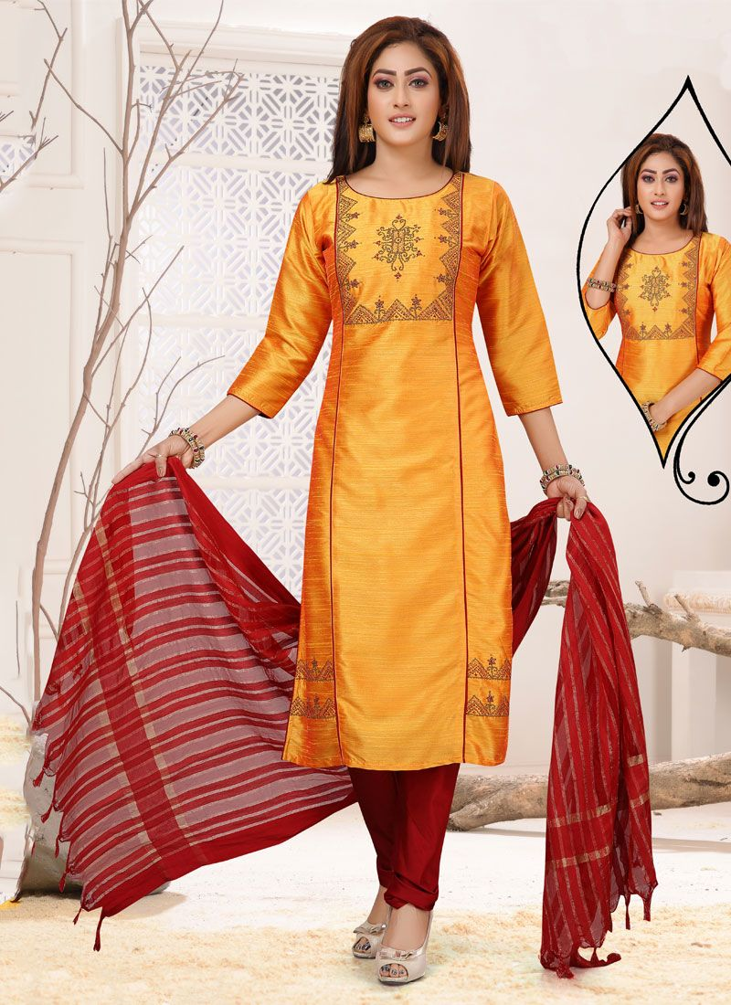 Orange Embroidered Readymade Suit