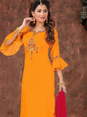 Orange Embroidered Silk Bollywood Salwar Kameez