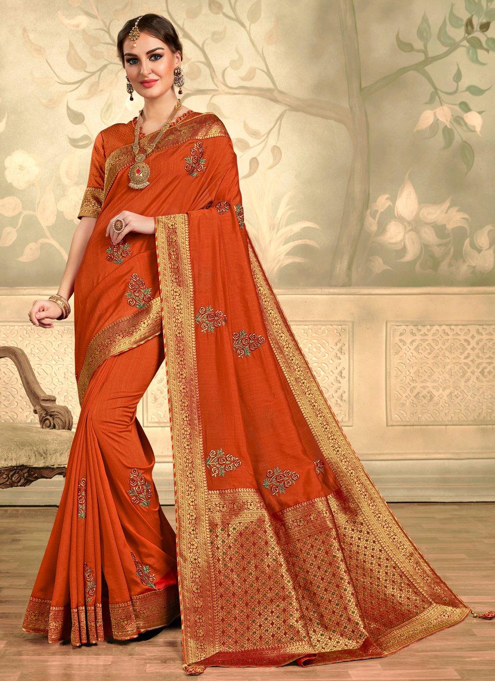 Orange Embroidered Silk Contemporary Saree