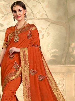 Orange Embroidered Silk Contemporary Saree