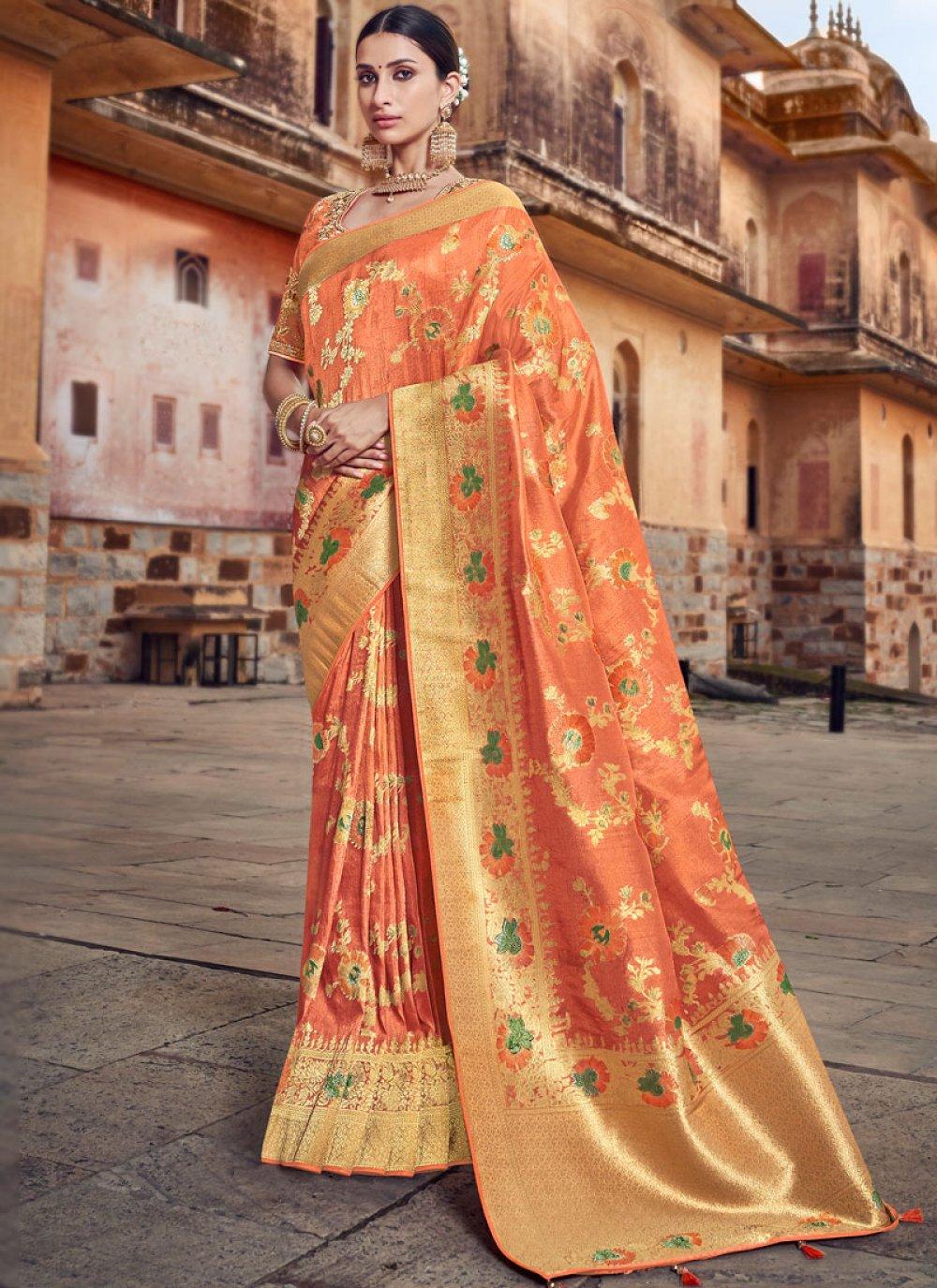 Orange Embroidered Silk Traditional Designer Saree