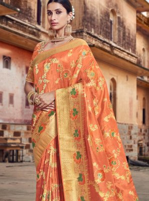 Orange Embroidered Silk Traditional Designer Saree