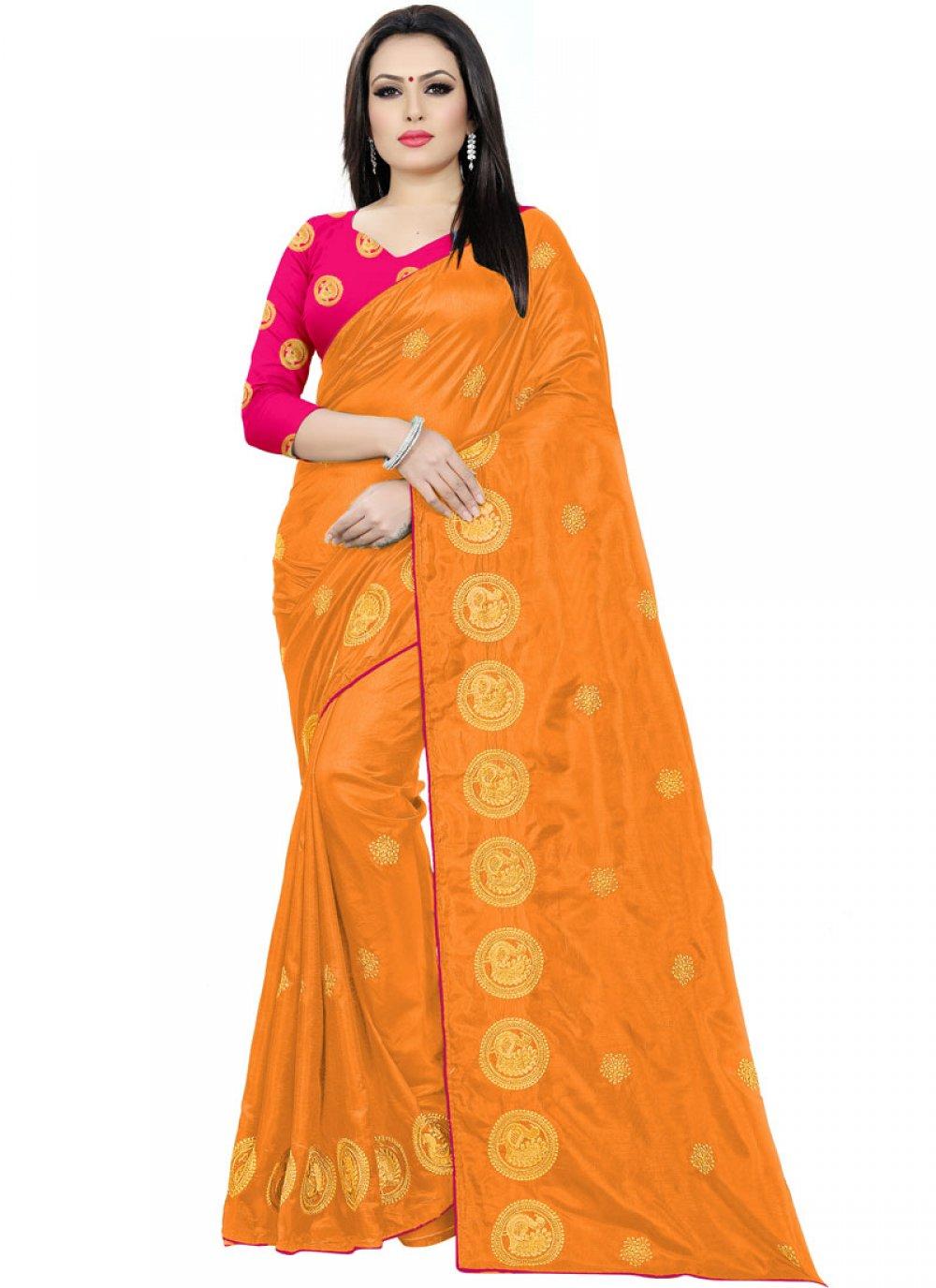 Orange Embroidered Silk Traditional Saree