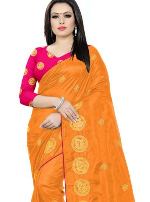 Orange Embroidered Silk Traditional Saree