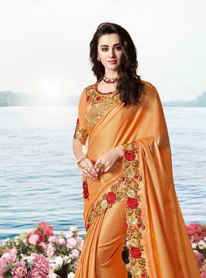Orange Embroidered Tissue Classic Designer Saree