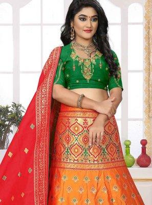Orange Embroidered Wedding Designer Lehenga Choli