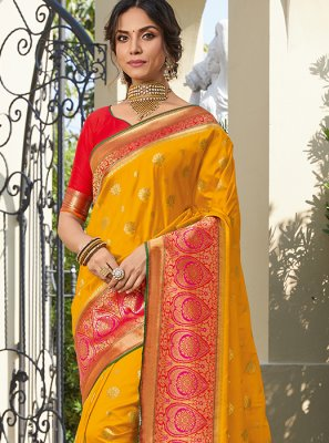 Orange Engagement Classic Saree