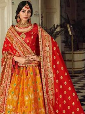 Orange Engagement Designer Lehenga Choli
