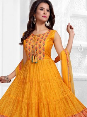 Orange Fancy Art Silk Readymade Suit
