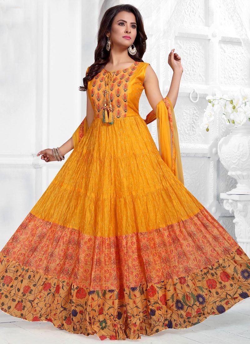 Orange Fancy Art Silk Readymade Suit